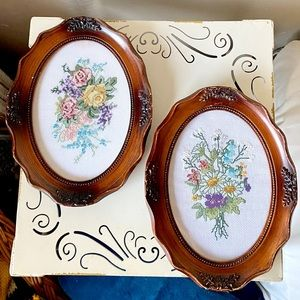 Pair of vintage wood framed cross stitch florals